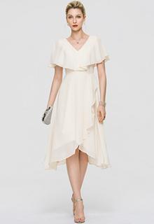 A-Line V-neck Asymmetrical Chiffon Cocktail Dress With Bow(s) Cascading Ruffles (016189318)