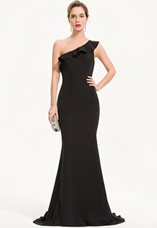 Trumpet/Mermaid One-Shoulder Sweep Train Stretch Crepe Evening Dress (017186143)