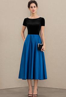 A-Line Scoop Neck Tea-Length Satin Velvet Mother of the Bride Dress With Pockets (008179199)