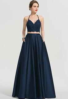 A-Line V-neck Floor-Length Satin Prom Dresses With Beading Pockets (018192372)