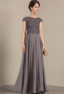A-Line/Princess Scoop Neck Floor-Length Chiffon Lace Mother of the Bride Dress With Beading (008143385)
