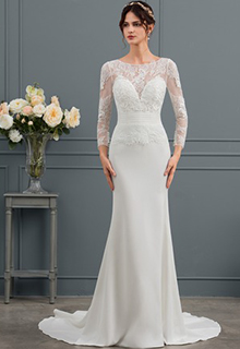 Sheath/Column Scoop Neck Court Train Stretch Crepe Wedding Dress With Ruffle (002134405)