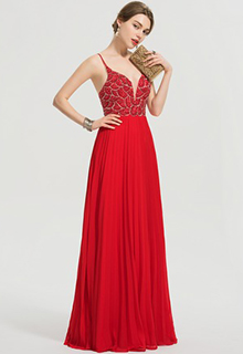 A-Line V-neck Floor-Length Chiffon Prom Dresses With Beading Sequins Pleated (018192365)