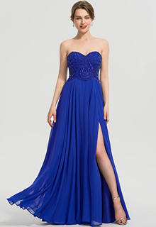 A-Line Sweetheart Floor-Length Chiffon Prom Dresses With Beading Sequins Split Front (018192359)