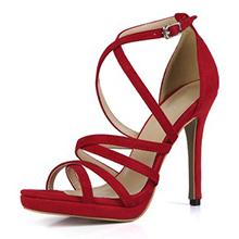 Women's Suede Stiletto Heel Sandals Pumps Peep Toe With Buckle shoes (087154471)