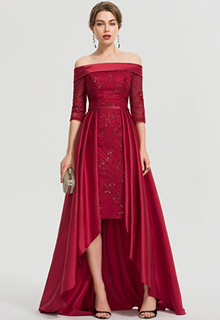 A-Line Off-the-Shoulder Asymmetrical Satin Prom Dresses With Sequins (018192901)