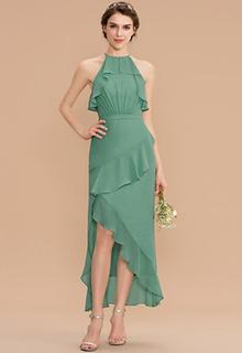 A-Line Scoop Neck Asymmetrical Chiffon Bridesmaid Dress With Cascading Ruffles (007176774)