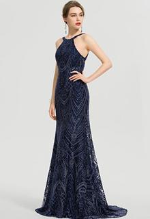Trumpet/Mermaid Scoop Neck Sweep Train Lace Prom Dresses (018192339)