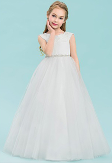 Ball Gown Floor-length Flower Girl Dress - Satin/Tulle/Lace Sleeveless Scoop Neck With Rhinestone (010143235)