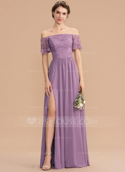 A-Line Off-the-Shoulder Floor-Length Chiffon Lace Bridesmaid...