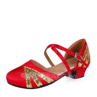 Women's Satin Sparkling Glitter Flats Ballroom Dance Shoes (...