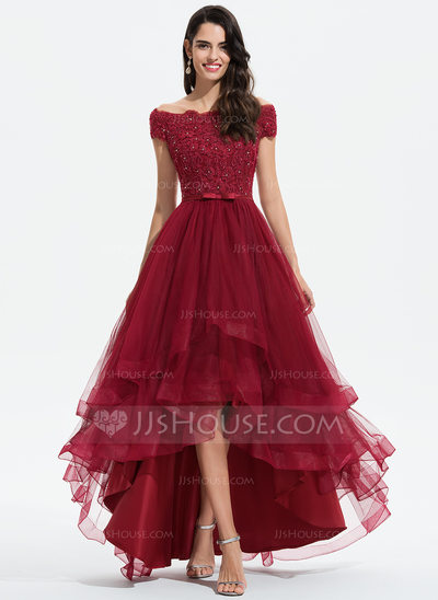 A-Line Off-the-Shoulder Asymmetrical Tulle Homecoming Dress ...