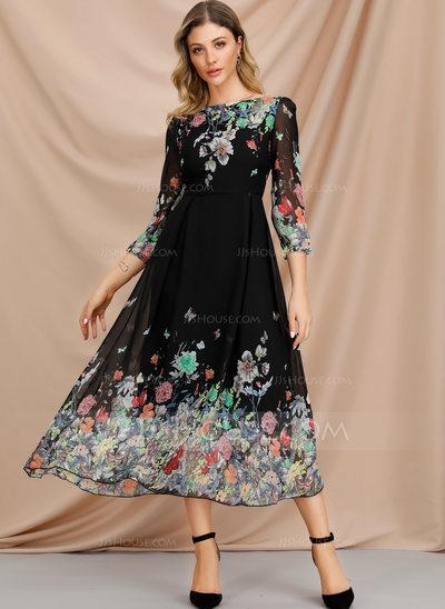 A-Line Scoop Neck Tea-Length Cocktail Dress (016207278)...