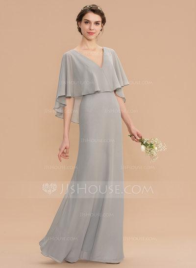 A-Line V-neck Floor-Length Chiffon Bridesmaid Dress (0071767...