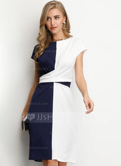 Sheath/Column Scoop Neck Knee-Length Cocktail Dress (0162059...