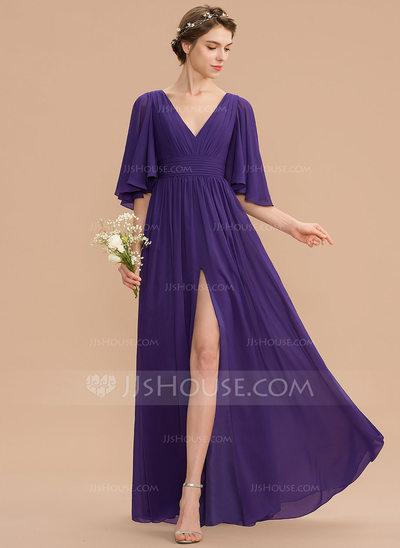 A-Line V-neck Floor-Length Chiffon Bridesmaid Dress With Ruf...
