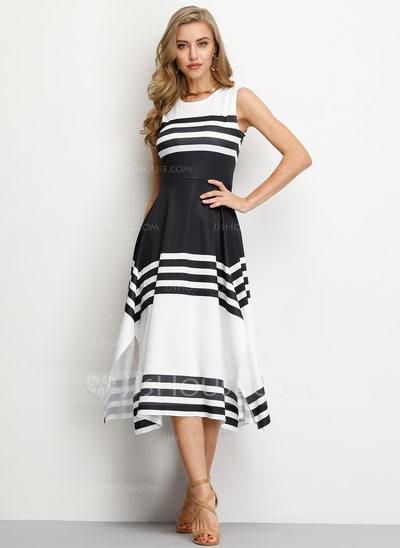 A-Line Scoop Neck Tea-Length Cocktail Dress (016206554)...
