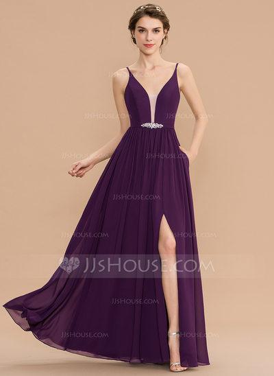 A-Line V-neck Floor-Length Chiffon Bridesmaid Dress With Bea...