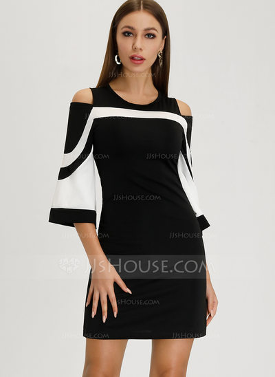 Sheath/Column Scoop Neck Short/Mini Cocktail Dress (01620655...