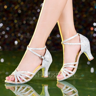 Women's Sparkling Glitter Heels Latin Dance Shoes (053149291...