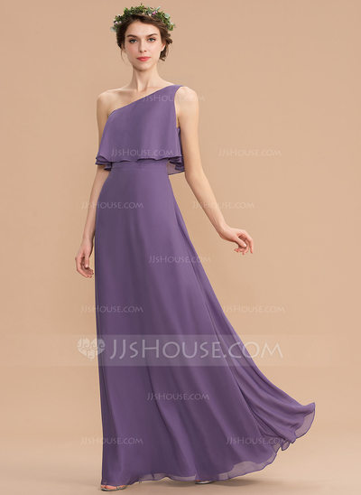 A-Line One-Shoulder Floor-Length Chiffon Bridesmaid Dress (0...