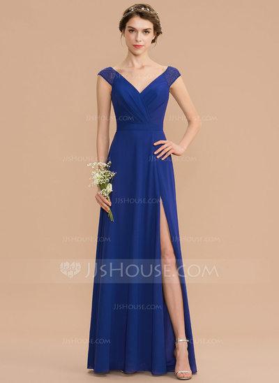 A-Line V-neck Floor-Length Chiffon Lace Bridesmaid Dress Wit...