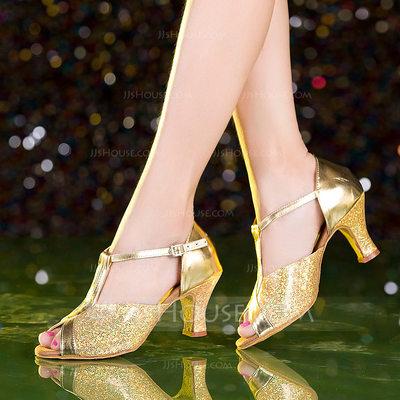 Women's Leatherette Sparkling Glitter Heels Latin Dance Shoe...