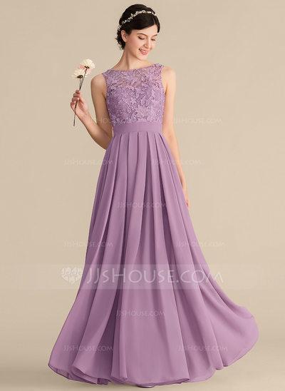 A-Line/Princess Scoop Neck Floor-Length Chiffon Lace Bridesm...