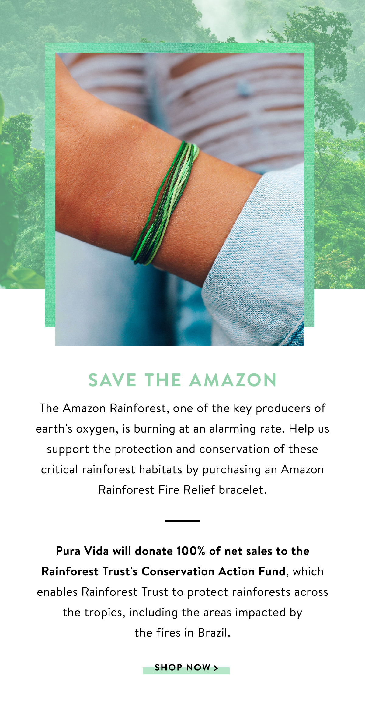 Save the Amazon | SHOP NOW >