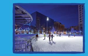 Ice skating under the lights at Rosa Park Circle
