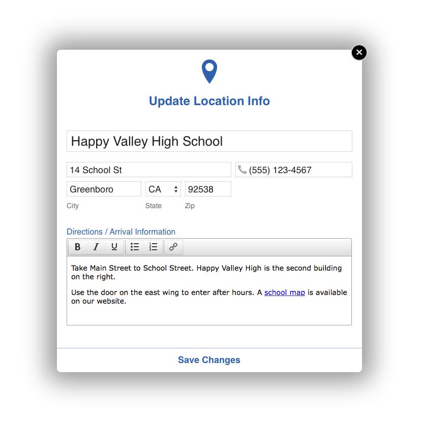 Custom location information in CourseStorm