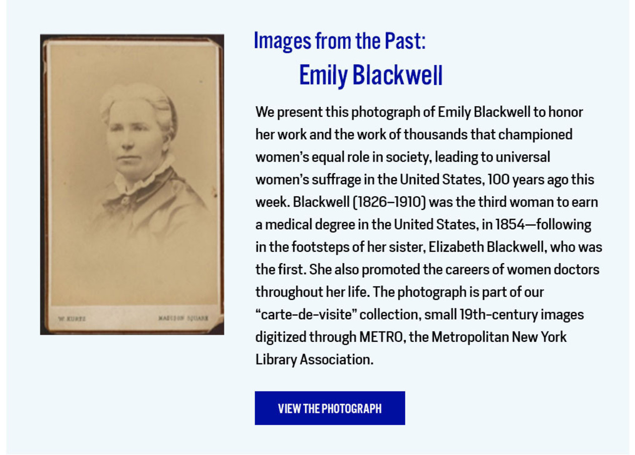 Images from the Past: Emily Blackwell
