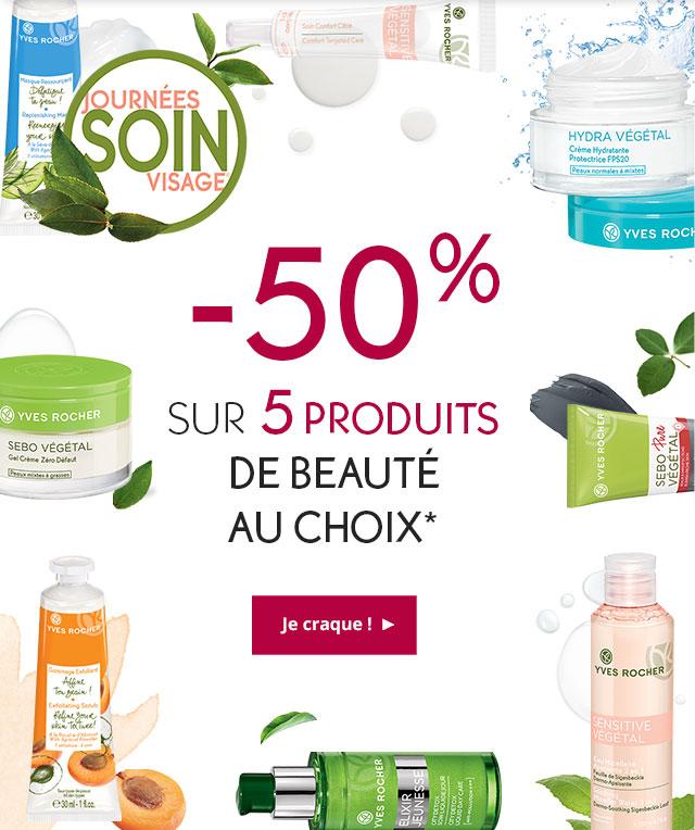 -50% sur 5 produits de beauté au choix*