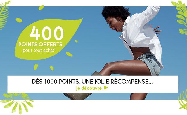 400 Points offerts pour tout achat! Dès 1000 points, une jolie récompense...