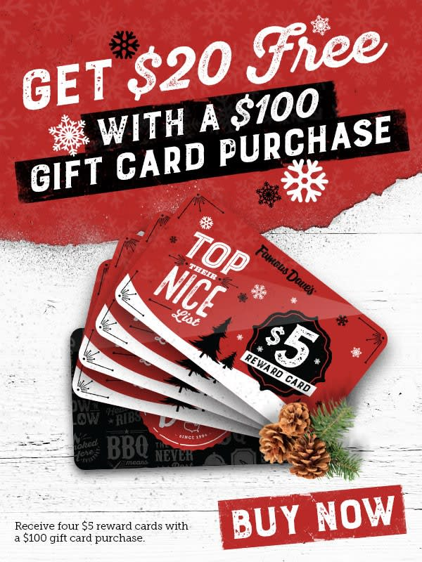 Get $20 when You Purchase a $100 Gift Card!
