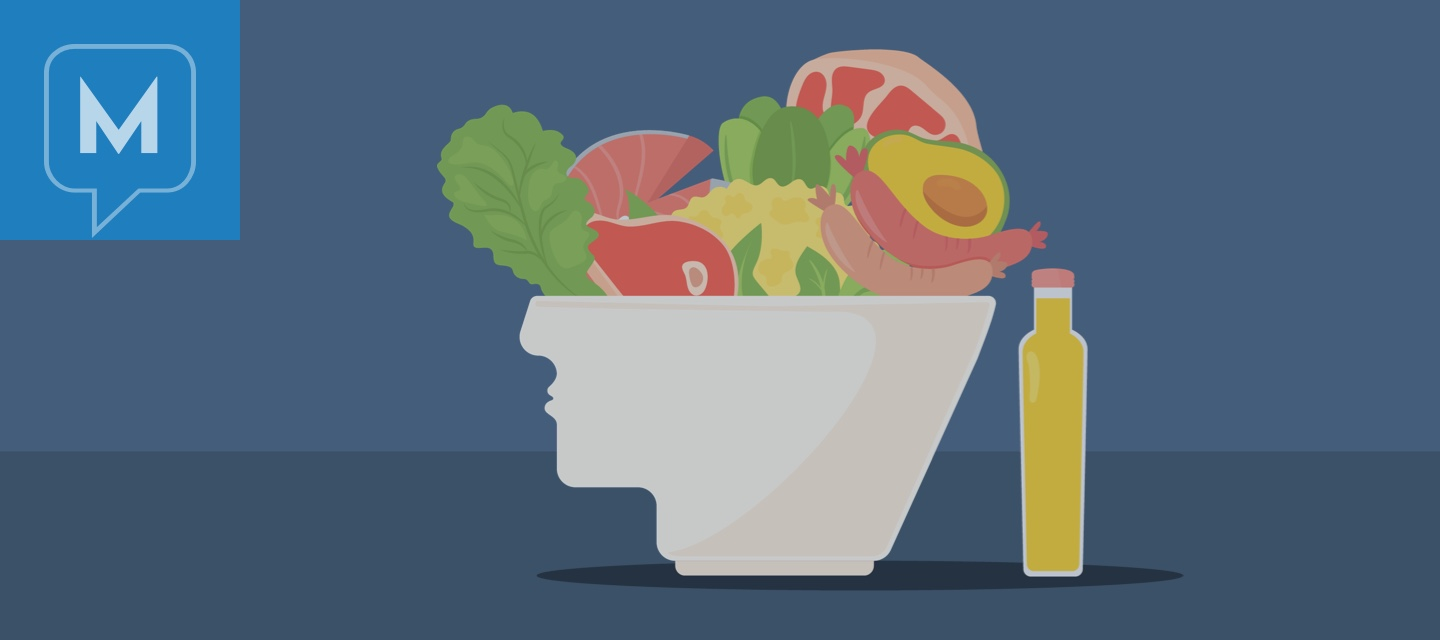 A bowl shaped like the lower half of a head filled with keto friendly foods that are outlined in the article.