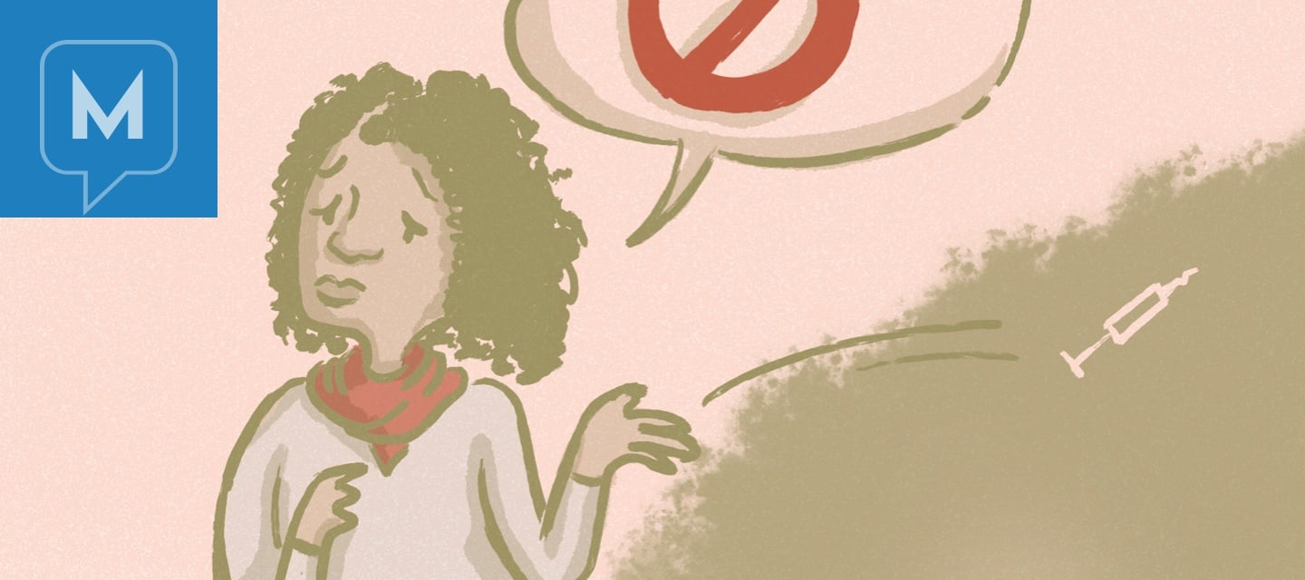 Woman with a crossed circle icon in a speech bubble and shown tossing a syringe
