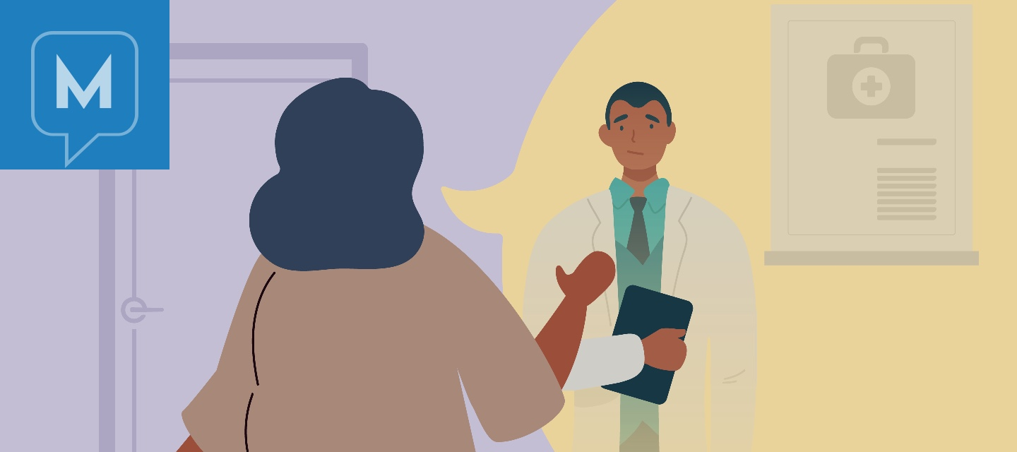 Woman patient standing firm and respectfully speaking to a doctor in their office