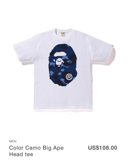 A BATHING APE® Color Camo Big Ape Head tee