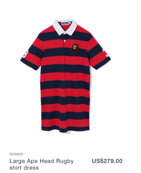 A BATHING APE® Large Ape Head Rugby shirt dress