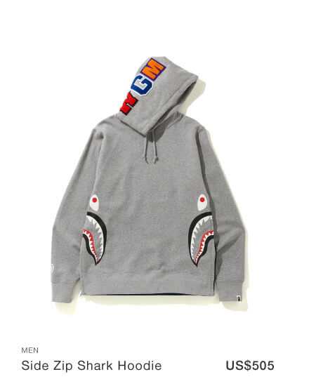 A BATHING APE® Side zip Shark hoodie