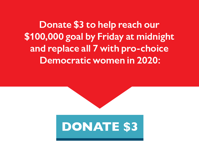 Donate $3 to help reach our $100,000 goal by Friday at midnight and replace all seven with pro-choice Democratic women.