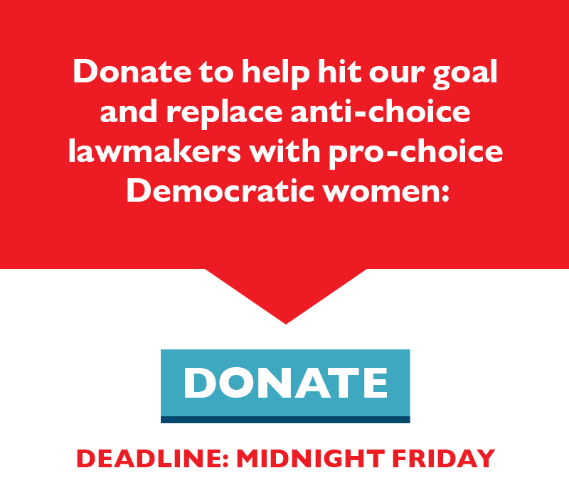 Donate to help hit our goal and replace anti-choice lawmakers with pro-choice Democratic women.