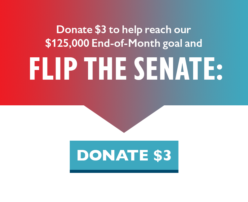 Donate $3 to help reach our $125,000 End-of-Month goal and FLIP THE SENATE.