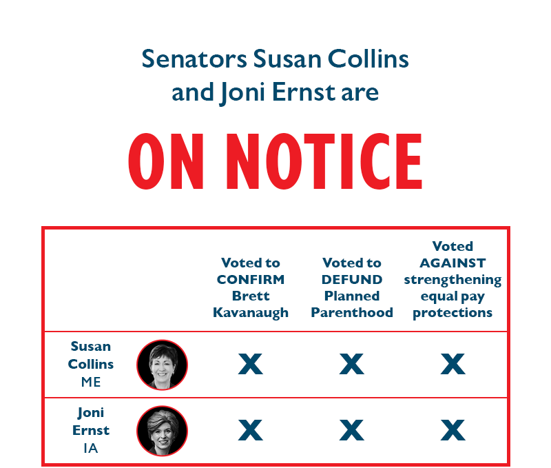 Senators Susan Collins and Joni Ernst are ON NOTICE.