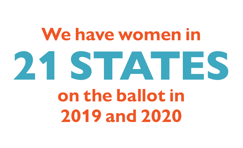 We have women in 21 states on the ballot in 2019 and 2020