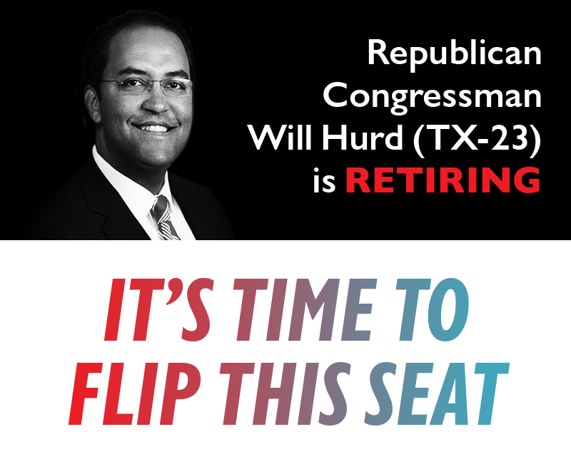 Republican Congressman Will Hurd (TX-23) is retiring.