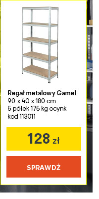 Regal metalowy Gamel 90 x 40 x 180 cm 5 p?lek 175 kg ocynk kod 113011