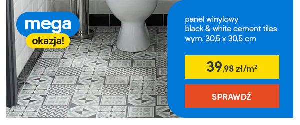 panel winylowym black & white cement tiles wym. 30,5 x 30,5 cm