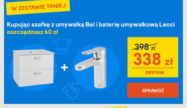 Kupujac szafke z umywalka Bel i baterie umywalkowa Lecci oszczedzasz 60 zl